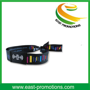 Custom Fabric Woven Wristband with Embroidery Logo for Party pictures & photos