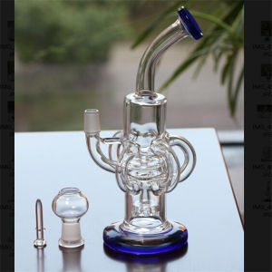 Royal Blue Glass Water Pipes with Dome Nail Headshower Perc pictures & photos