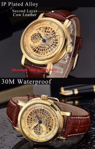 High-End Fashionable Automatic Men′s Watch with Genuine Leather Strap Fs622 pictures & photos