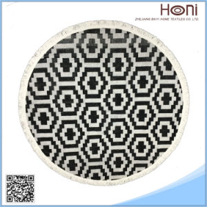 Round Jacquard Beach Towel with Tassel Fring Factory Softtextile Round Towel Mandala pictures & photos