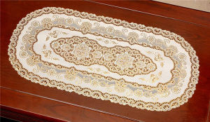 Hot Popular PVC Lace Gold Tablemat 38*55cm for Home/Wedding/Coffee Use pictures & photos