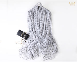 Black DOT Polyester Chiffon Scarf pictures & photos