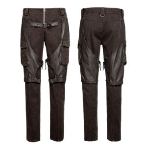Steampunk Coffee Men′s Cargo Pants Big Pockets Metallic Jeans (K-284) pictures & photos