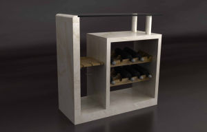 Modern Marble Console Table with Wine Cabinet (TCT-002)