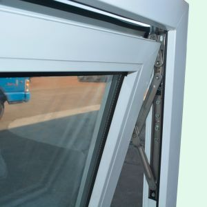 White Colour UPVC Profile Awning Window Double Glass with Grid K02065 pictures & photos
