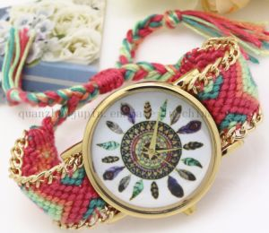 OEM Fashion Feather Ladies Quartz Watch with Woven Bracelet pictures & photos