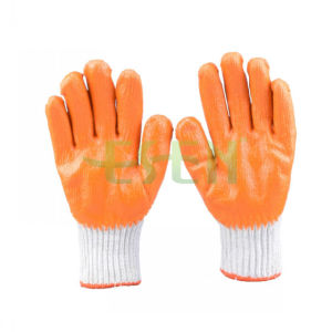 2017 China Manufacturer Wrinkle Palm 13guage Cotton Rubber Latex Coatted Glove pictures & photos