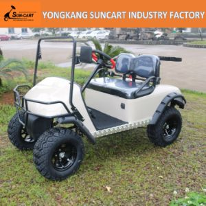 2 Seater Indoor Shuttle Golf Car with No Roof, Customized Tan Color Electric Golf Cart pictures & photos