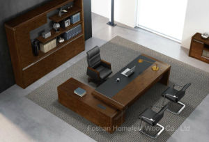 L-Shape Rectangular Wooden Office Furniture Modern Table Executive Desk (HF-01D28) pictures & photos