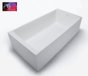 High Quality Pure Aluminum Powder Resin Stone Soaking Rectangular Vertical Bathtub pictures & photos