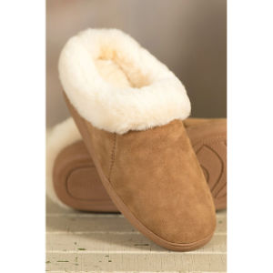 Warm Indoor Soft Sheepskin Fur Collar Women Slipper pictures & photos