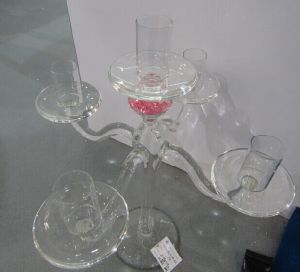 Clear Dendritic Glass Candle Holder with Three Posters pictures & photos