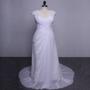 Wholesale Price Lace Straps Chiffon Sleeveless Plus Size Wedding Dress pictures & photos