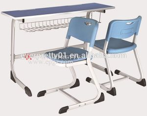 Durable and Comfortable Wooden School Classroom Student Double Desk and Chair pictures & photos