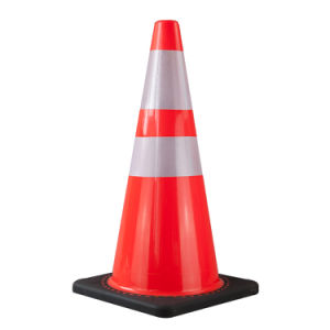 28inch Soft Orange PVC Cone with Black Base (S-1238) pictures & photos
