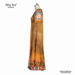 Miss You Ailinna 305320 Ladies Yellow V-Neck Floral Print Long Dress pictures & photos