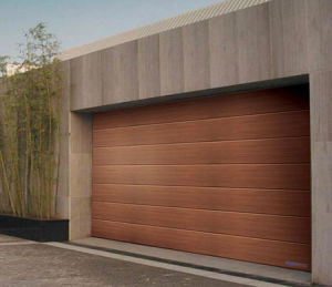 Artificial Wood Sectional Garage Door, Galvanized Steel Surface Powder Coating pictures & photos
