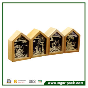 Handmade Decoration Wooden Music Box with House Shape pictures & photos