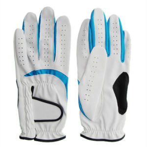Synthetic Leather Golf Glove White Blue Lycra (PGL-71) pictures & photos