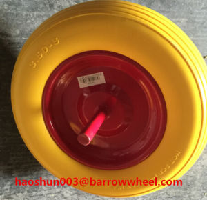 350-8 PU Foam Wheel with Axle for Wheel Barrow pictures & photos