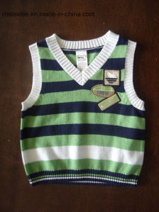 Boy Sleeveless Sweater - True Knitted Stripe pictures & photos