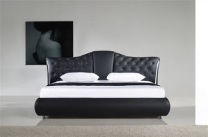 New Elegant Design Modern Genuine King Size Leather Bed (HC040) pictures & photos