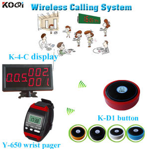 Wireless Transmission System Watch Pager Y-650 with Electronic Ordering Display K-4-C Match with Button pictures & photos