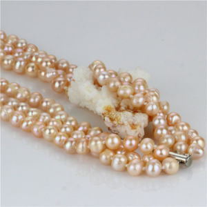 Snh Peach Color Hot Sale 925 Silver Pearl Necklace for Women pictures & photos