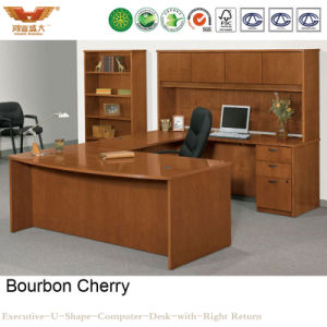 Wooden Luxury Multi-Purpose Executive Office U Shape Computer Curved Desk with Side Table Bookcase (HY-U01) pictures & photos