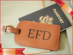 Logo Debossed Leather Luggage Tags Leather Hang Tags pictures & photos