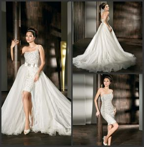 Hil-Low Wedding Dress Two Pieces Arabic Bridal Wedding Gown H13168 pictures & photos