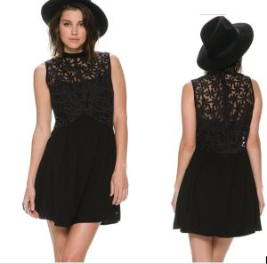High Quality Free Prom Women Black Floral Lace Dress pictures & photos