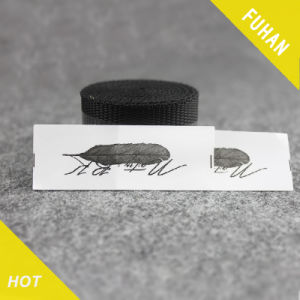Newest Product Black Fine Feathers Printed Satin Label pictures & photos