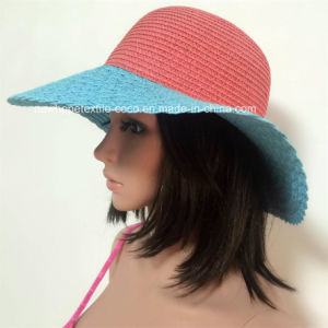 100% Paper Straw Hat, Fashion Contrast Col with Weaving Way Style pictures & photos