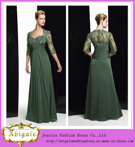 New Elegant Dark Green Chiffon Half Sleeve Lace Appliques Beaded Long Garden Wedding Mother of Bride Dresses Yj0109 pictures & photos