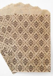 Kraft Flat Merchandise Bags with Black Damask Print, Daily Use Shopping Paper Bag pictures & photos