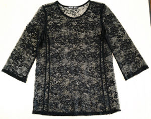 Fashion Clothes Summer Long Sleeve Nylon Lace Sexy Lady T-Shirt pictures & photos