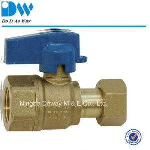 Brass Ball Valve Female End with Free Nut Aluminum Handle pictures & photos
