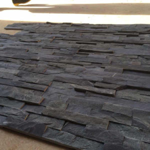 Natural Black Slate Stacked Stone Wall Panels (SMC-SCP419) pictures & photos