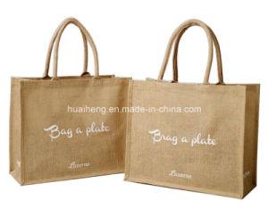 Natural Burlap Jute Tote Bag W/Cotton Handles pictures & photos