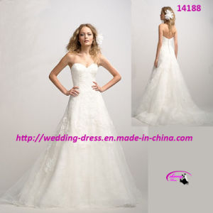 Ivory Sweetheart Neck Lace Wedding Dress with A-Line pictures & photos