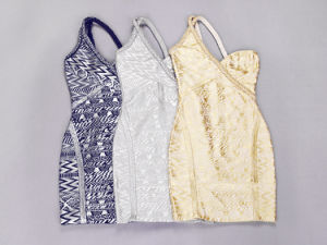 High-Grade Stage Annual Meeting One-Shoulder Knitted Gold Stamping Bandage Dresses pictures & photos