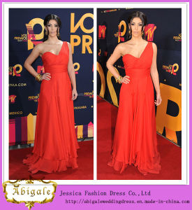 New Pop Star Wearing Red Chiffon One-Shoulder Sweetheart Empire Sleeveless Ruched Long Evening Gown Yj0054