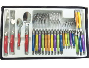 24PCS ABS Color Handle Laguiole Stainless Steel Cutlery Ware (SE-K028) pictures & photos