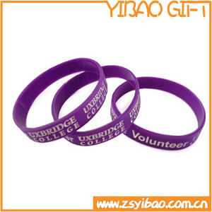 Purple Silicone Wristband with Custom Logo (YB-w-012) pictures & photos
