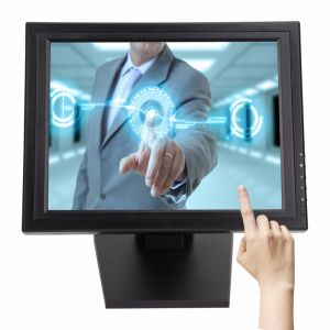 Desktop POS Use 15 Inch LCD Resistive Touch Screen Monitors with Professional Stand pictures & photos