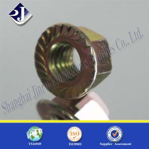Hex Flange Nut with Yellow Zinc pictures & photos
