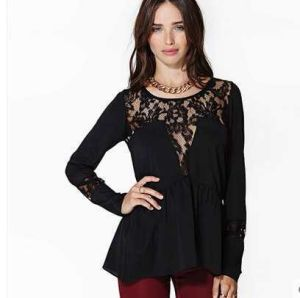 OEM Fashion Clothing 2015 Long Sleeve Women Lace Blouse pictures & photos