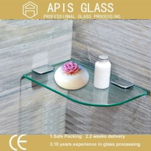6 - 12 mm Home Floating Glass Shelf/ Corner Decorative Glass/ Quarter Circle Small Wall Glass Shelf Toughened/Tempered Glass pictures & photos