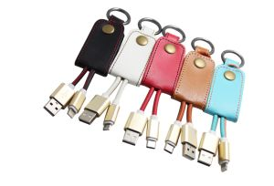 Leather Keychain with USB Charging Wire pictures & photos